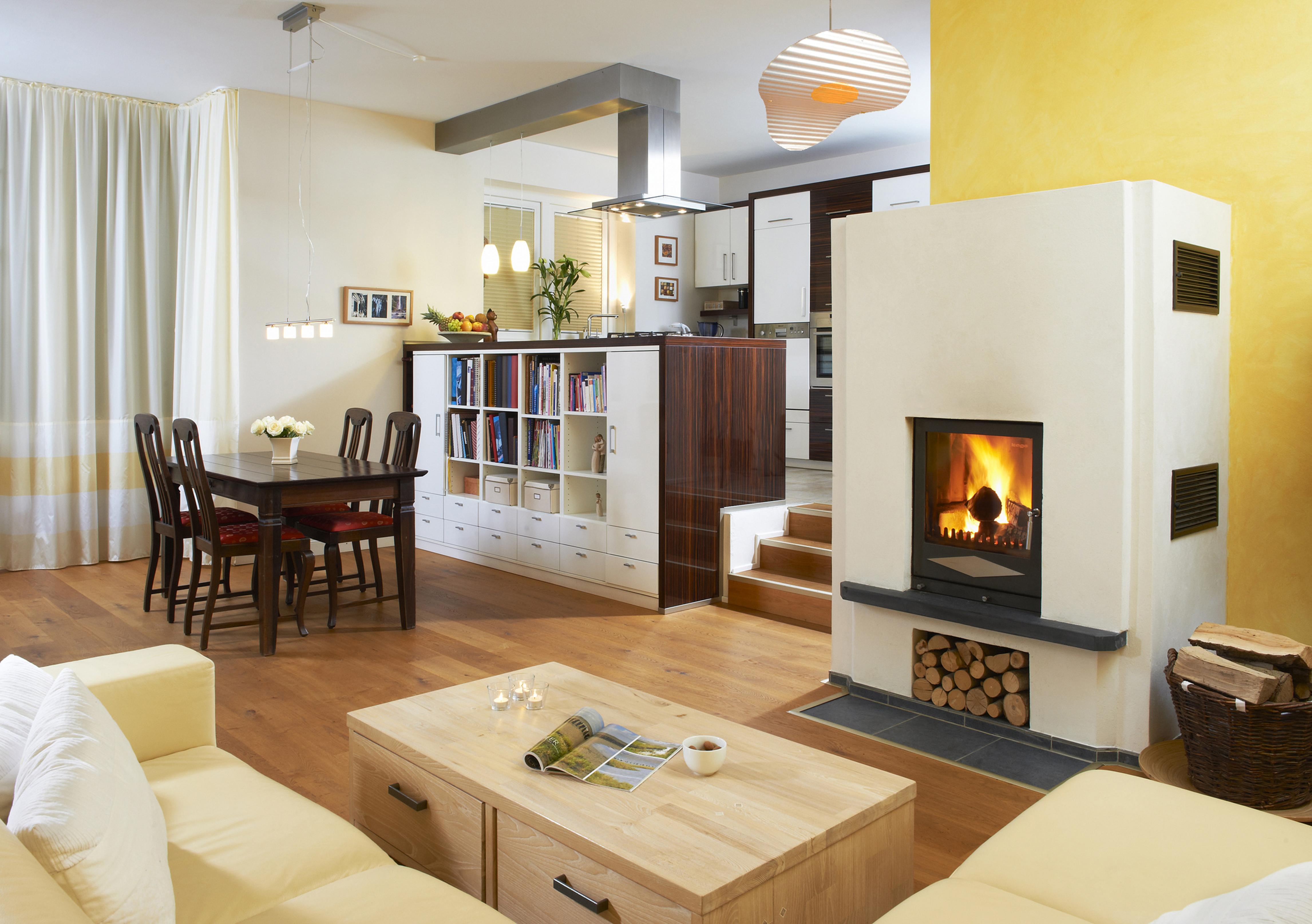 Kaminofen in Wohnzimmer - Küche